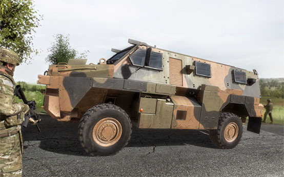 ADF Bushmaster in VBS3 for vehicle simulation