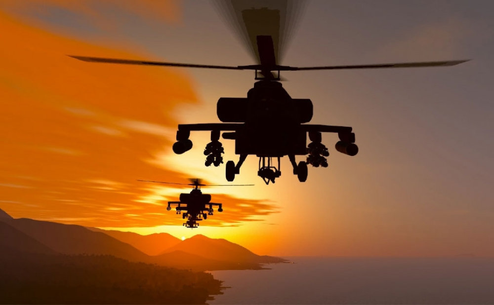 Apaches at sunset in VBS4