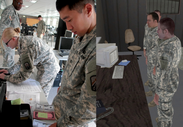 Soldiers train on pay agent operations in VBS. Credit: US Army