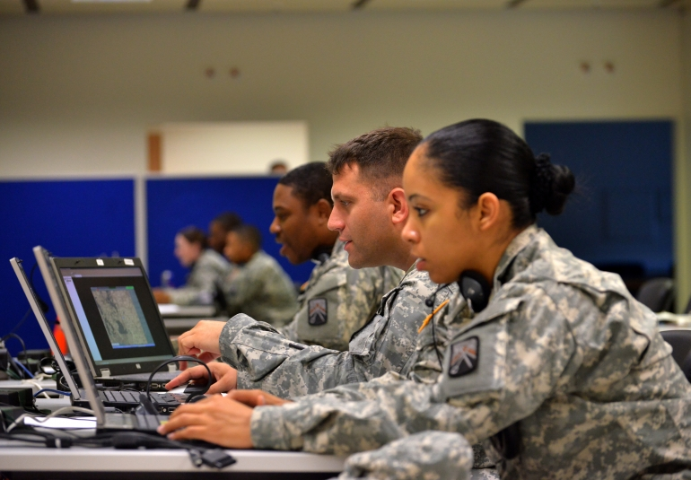 Soldiers simulate finance operations in a distributed exercise. Credit: US Army
