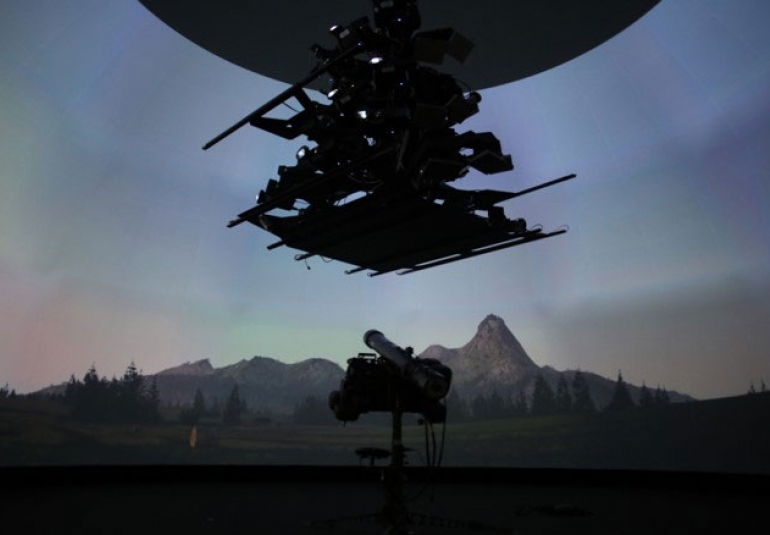 dome display image generation using 27 projectors ADF military training virtual reality simulated missile defense