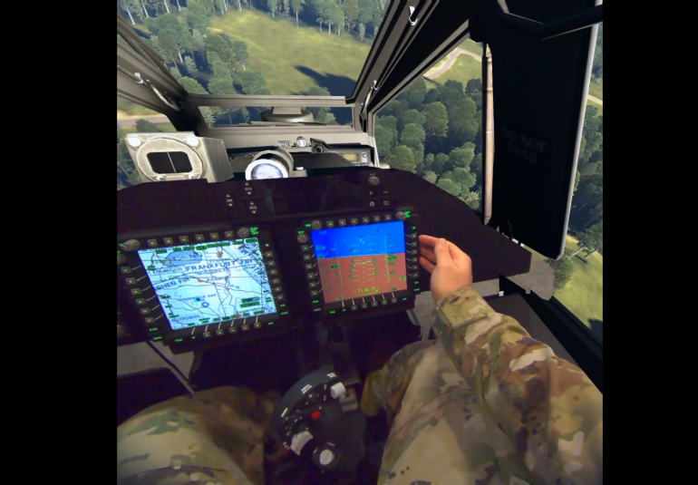 VBS Blue IG mixed reality Apache helicopter cockpit view using tech from Bugeye, Zedasoft and Birhle.
